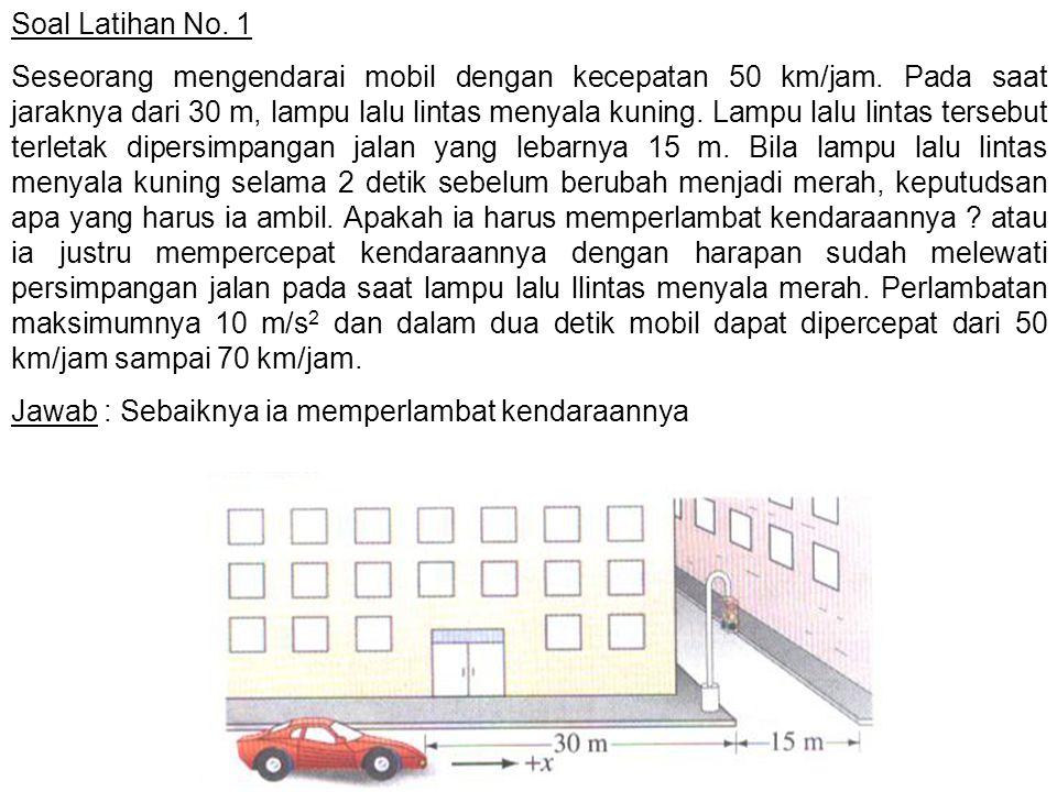 Soal Latihan No. 1 Seseorang mengendarai mobil dengan kecepatan 50 km/jam. Pada saat jaraknya dari 30 m, lampu lalu lintas menyala kuning. Lampu lalu
