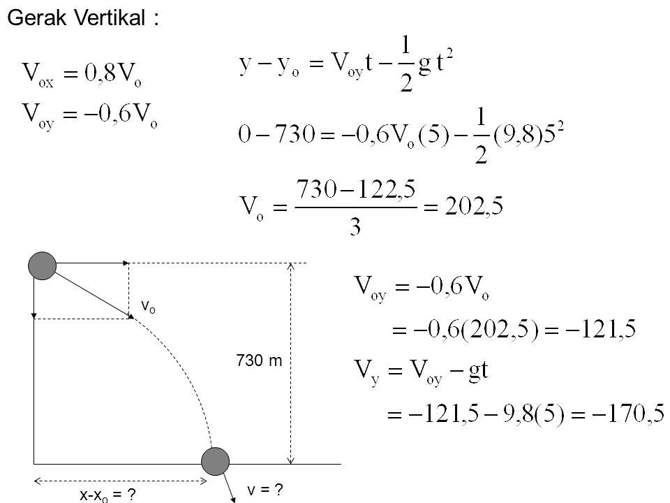 730 m v = ? x-x o = ? vovo Gerak Vertikal :