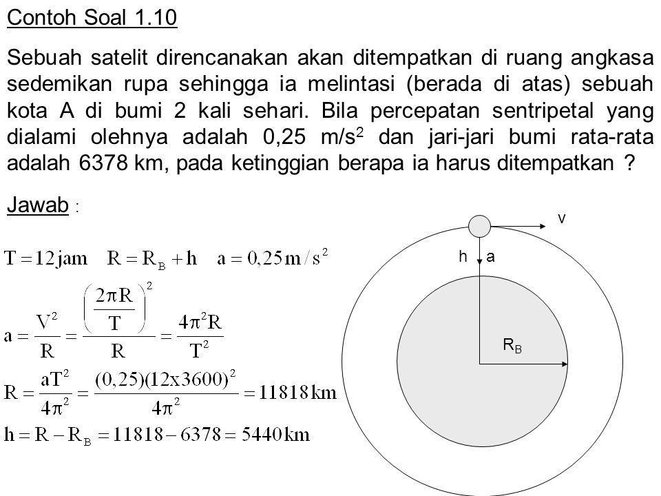 Contoh Soal 1.10 Sebuah satelit direncanakan akan ditempatkan di ruang angkasa sedemikan rupa sehingga ia melintasi (berada di atas) sebuah kota A di bumi 2 kali sehari.