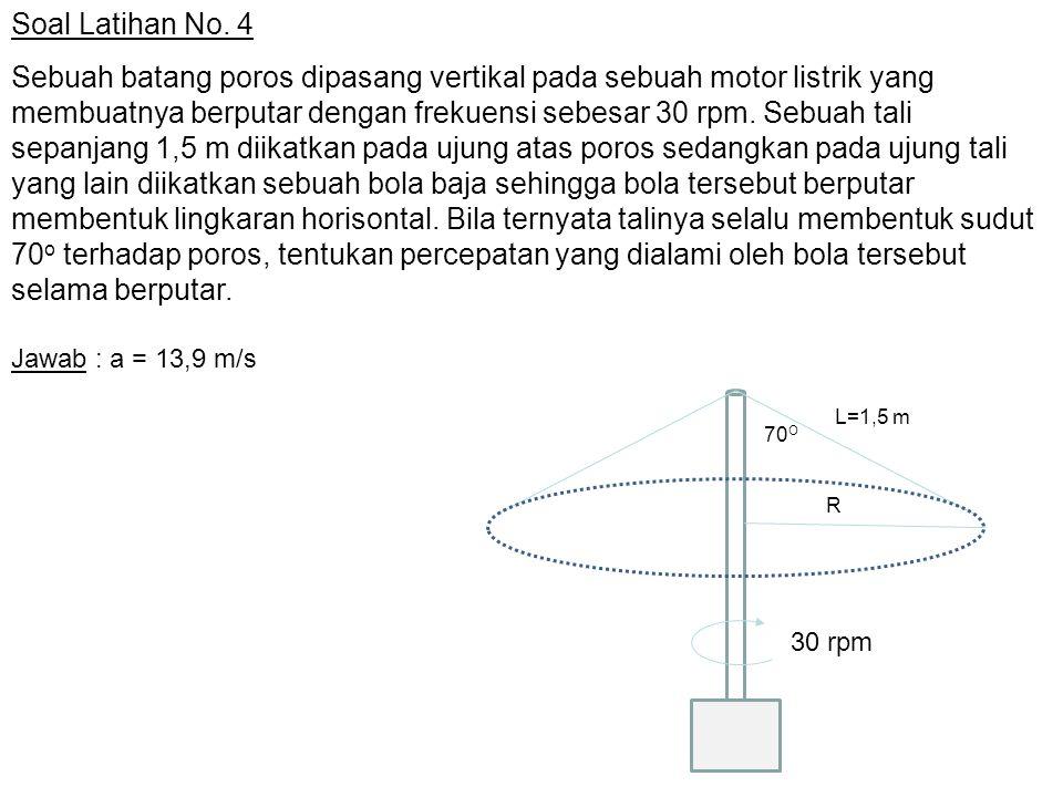 Soal Latihan No. 4 Sebuah batang poros dipasang vertikal pada sebuah motor listrik yang membuatnya berputar dengan frekuensi sebesar 30 rpm. Sebuah ta