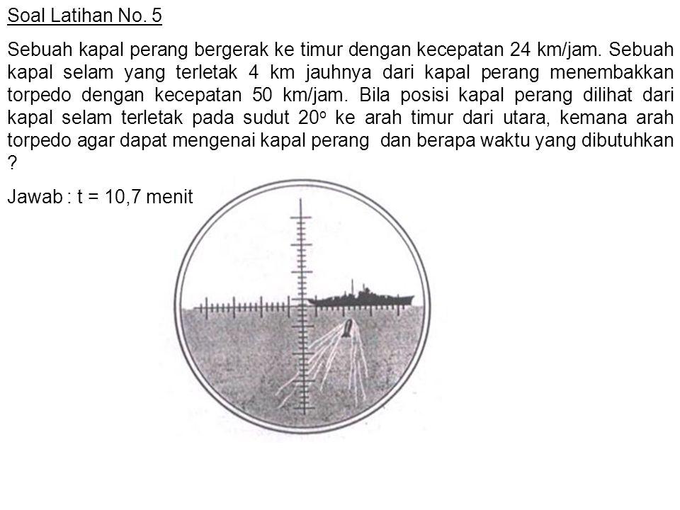 Soal Latihan No. 5 Sebuah kapal perang bergerak ke timur dengan kecepatan 24 km/jam. Sebuah kapal selam yang terletak 4 km jauhnya dari kapal perang m