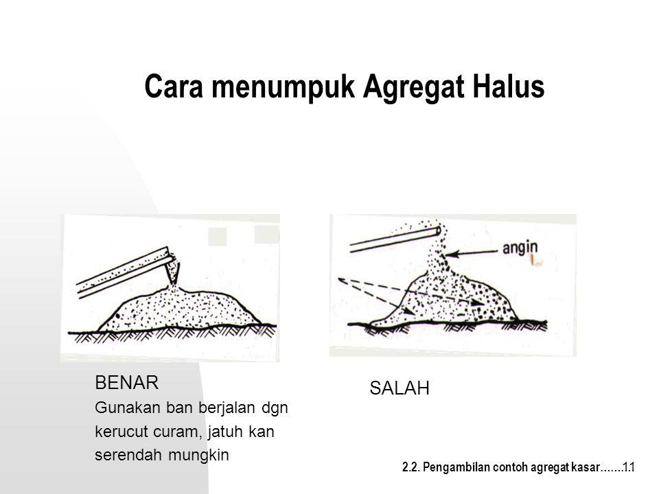 11 Cara menumpuk Agregat Halus SALAH BENAR Gunakan ban berjalan dgn kerucut curam, jatuh kan serendah mungkin 2.2. Pengambilan contoh agregat kasar………