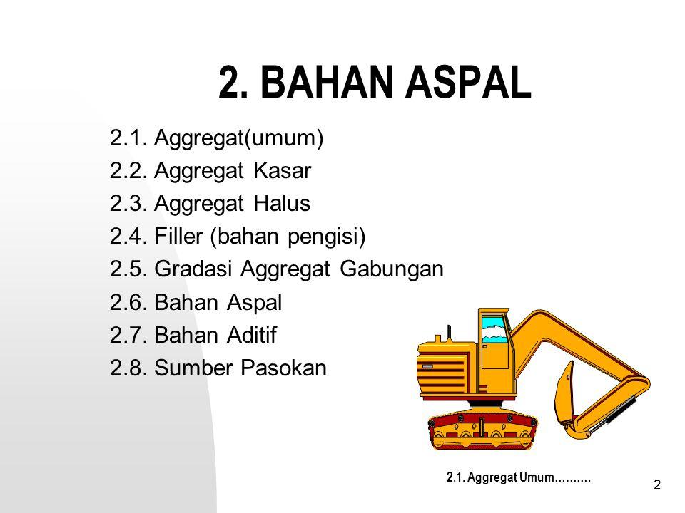 2 2. BAHAN ASPAL 2.1. Aggregat(umum) 2.2. Aggregat Kasar 2.3. Aggregat Halus 2.4. Filler (bahan pengisi) 2.5. Gradasi Aggregat Gabungan 2.6. Bahan Asp