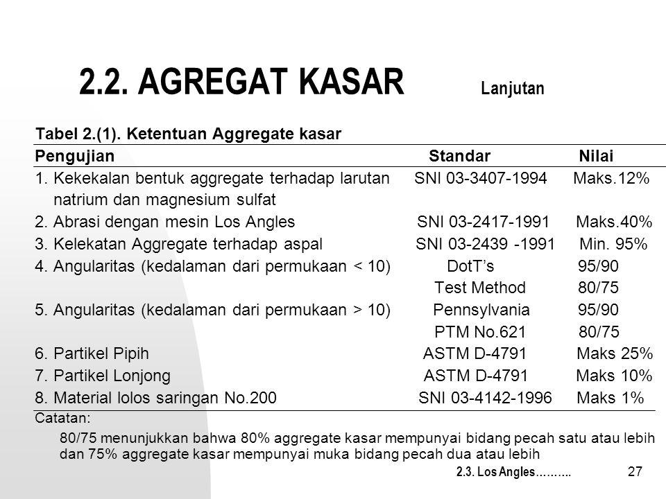 27 2.2. AGREGAT KASAR Lanjutan Tabel 2.(1). Ketentuan Aggregate kasar Pengujian Standar Nilai 1. Kekekalan bentuk aggregate terhadap larutan SNI 03-34