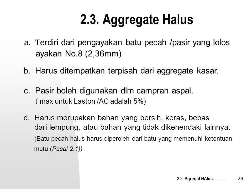 29 2.3. Aggregate Halus d. Harus merupakan bahan yang bersih, keras, bebas dari lempung, atau bahan yang tidak dikehendaki lainnya. (Batu pecah halus