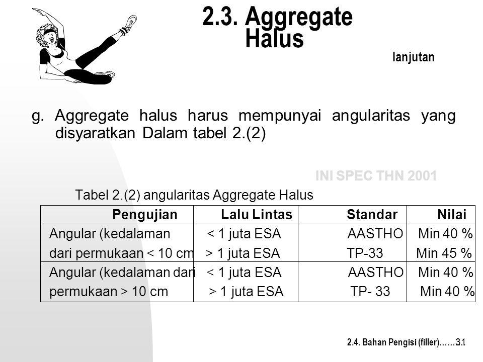 31 2.3. Aggregate Halus lanjutan INI SPEC THN 2001 Tabel 2.(2) angularitas Aggregate Halus Pengujian Lalu Lintas Standar Nilai Angular (kedalaman < 1