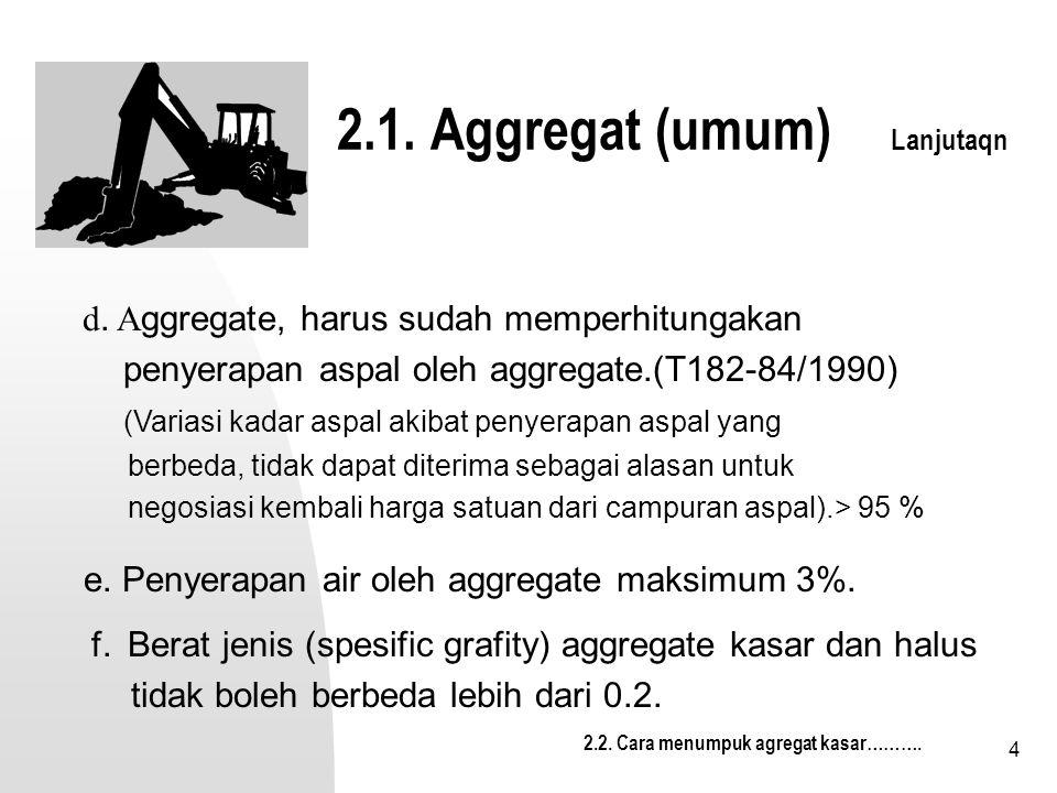 5 Daya lekat Agregate thd aspal (ASTHO T-182-84) 1.Benda Uji 9Agregate) lolos saringan 3/8 inc dan tertahan sar ¼ inc 2.Masukkan 100 grm benda uji kedalam wadah 3.Isikan  5,5 gr aspal yg telah dipanaskan (tertentu) 4.Aduk (agregate + aspal panas) sampai rata  2 menit 5.Masukkan kedalam open pd temp 60 0 C, selama 2 jam 6.Keluarkan wadah dr open, aduk kembali sampai dingin 7.Pindahkan kedalam gelas kimia 8.Isi dgn air suling 400 ml, diamkan 16-18 jam (temp ruang) 9.Perkirakan % luas permukaan yg masih terselimuti aspal.