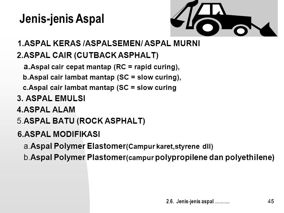 45 Jenis-jenis Aspal 1.ASPAL KERAS /ASPALSEMEN/ ASPAL MURNI 2.ASPAL CAIR (CUTBACK ASPHALT) a. Aspal cair cepat mantap (RC = rapid curing), b.Aspal cai
