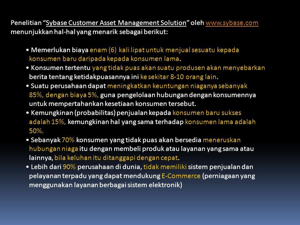 """Penelitian """"Sybase Customer Asset Management Solution"""" oleh www.sybase.comwww.sybase.com menunjukkan hal-hal yang menarik sebagai berikut: Memerlukan"""