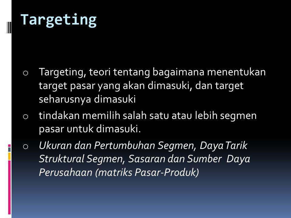 Targeting o Targeting, teori tentang bagaimana menentukan target pasar yang akan dimasuki, dan target seharusnya dimasuki o tindakan memilih salah sat