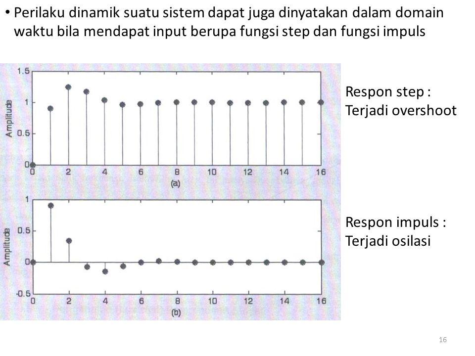 Perilaku dinamik suatu sistem dapat juga dinyatakan dalam domain waktu bila mendapat input berupa fungsi step dan fungsi impuls Respon step : Terjadi