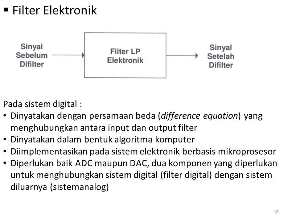  Filter Elektronik Pada sistem digital : Dinyatakan dengan persamaan beda (difference equation) yang menghubungkan antara input dan output filter Din