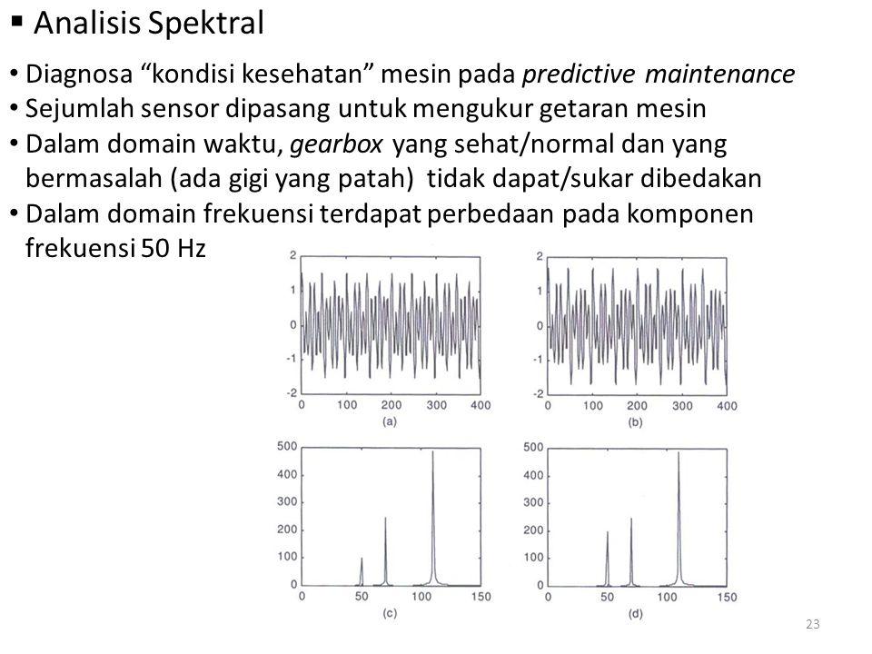 """ Analisis Spektral Diagnosa """"kondisi kesehatan"""" mesin pada predictive maintenance Sejumlah sensor dipasang untuk mengukur getaran mesin Dalam domain"""