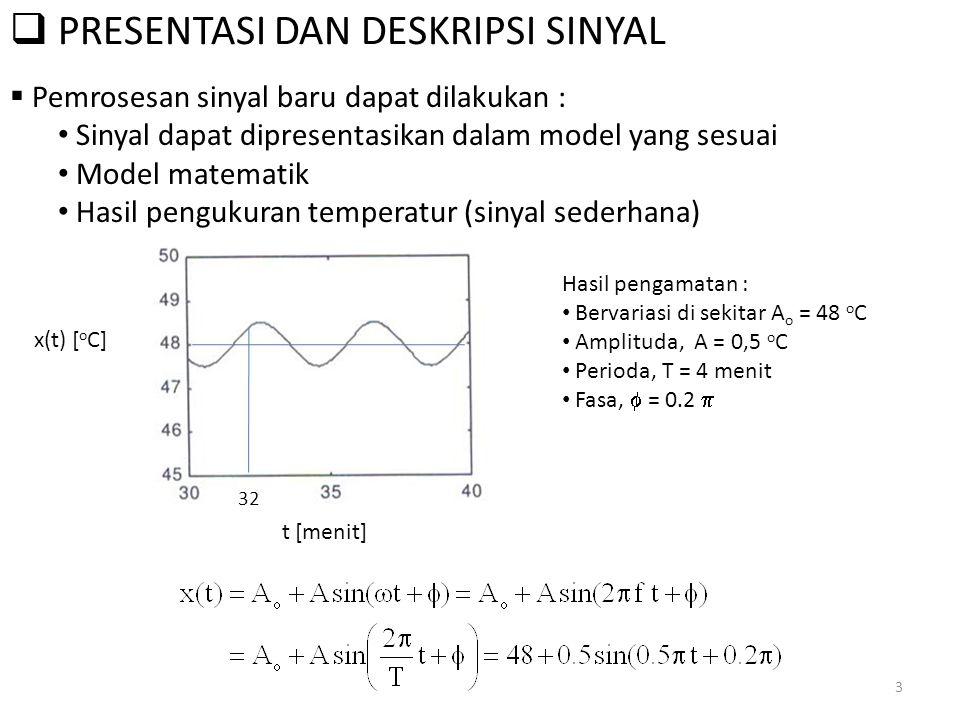  PRESENTASI DAN DESKRIPSI SINYAL  Pemrosesan sinyal baru dapat dilakukan : Sinyal dapat dipresentasikan dalam model yang sesuai Model matematik Hasi