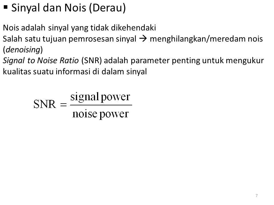  Sinyal dan Nois (Derau) Nois adalah sinyal yang tidak dikehendaki Salah satu tujuan pemrosesan sinyal  menghilangkan/meredam nois (denoising) Signa