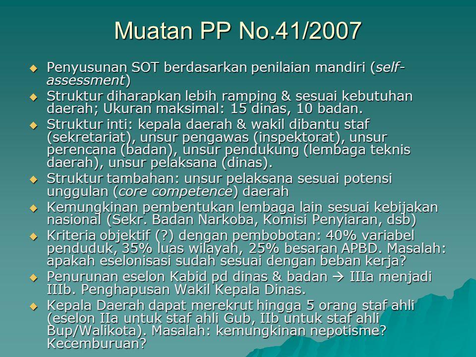 Muatan PP No.41/2007  Penyusunan SOT berdasarkan penilaian mandiri (self- assessment)  Struktur diharapkan lebih ramping & sesuai kebutuhan daerah;