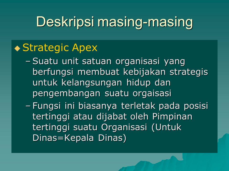 Deskripsi masing-masing   Strategic Apex –Suatu unit satuan organisasi yang berfungsi membuat kebijakan strategis untuk kelangsungan hidup dan penge
