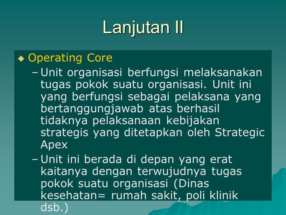 Lanjutan III   Techno-Structure –Unit ini berfungsi sebagai analis yang memberikan bantuan (hasil analisisnya) kepada Strategic Apex mengenai segala aspek yang berkaitan dengan tugas pokok organisasi untuk masukan pengambilan kebijakan (Misalnya: bagian Litbang)