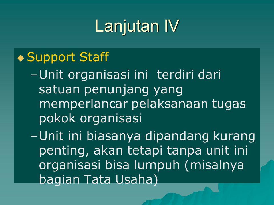 Lanjutan IV   Support Staff – –Unit organisasi ini terdiri dari satuan penunjang yang memperlancar pelaksanaan tugas pokok organisasi – –Unit ini bi