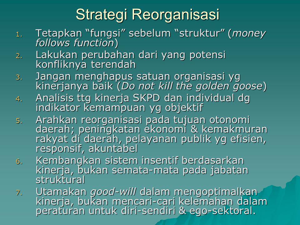 """Strategi Reorganisasi 1. Tetapkan """"fungsi"""" sebelum """"struktur"""" (money follows function) 2. Lakukan perubahan dari yang potensi konfliknya terendah 3. J"""