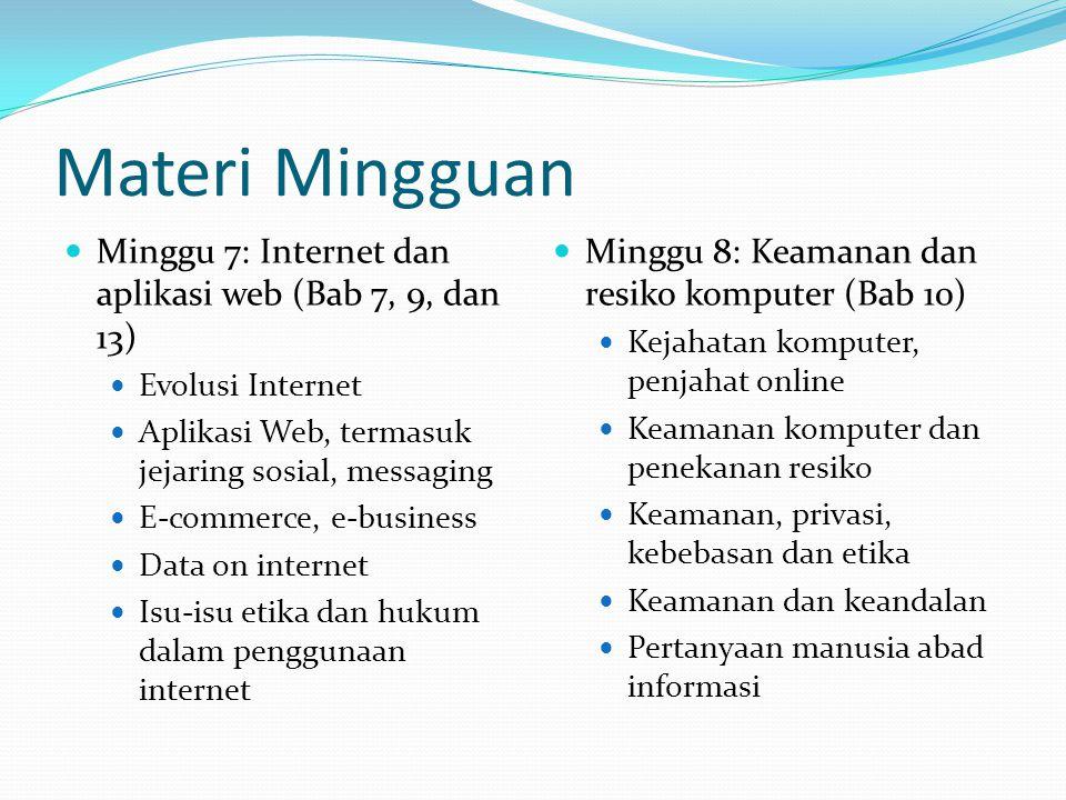 Materi Mingguan Minggu 7: Internet dan aplikasi web (Bab 7, 9, dan 13) Evolusi Internet Aplikasi Web, termasuk jejaring sosial, messaging E-commerce,