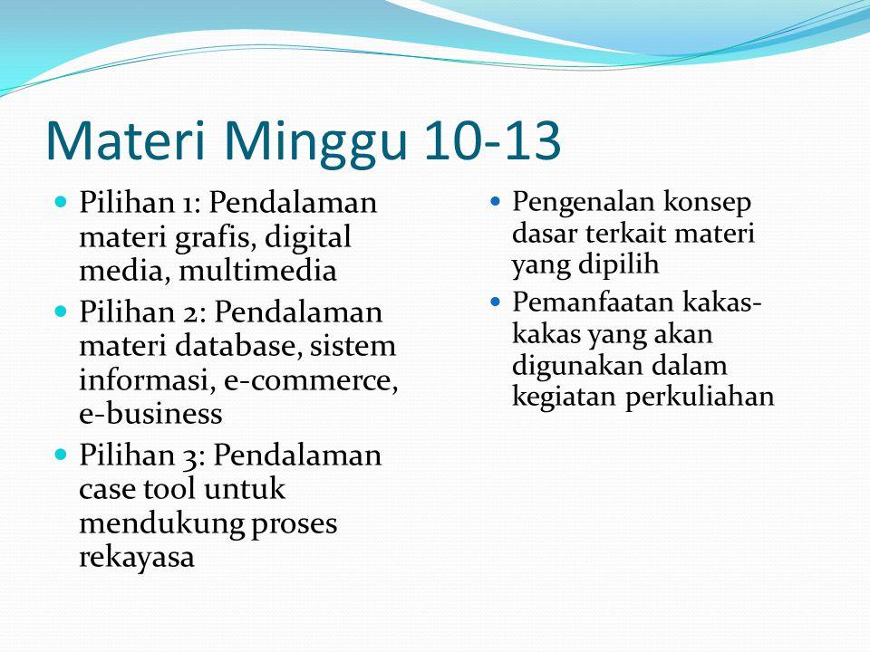 Materi Minggu 10-13 Pilihan 1: Pendalaman materi grafis, digital media, multimedia Pilihan 2: Pendalaman materi database, sistem informasi, e-commerce