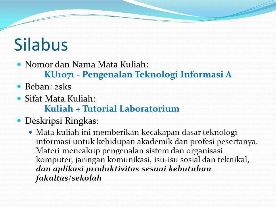 Silabus Nomor dan Nama Mata Kuliah: KU1071 - Pengenalan Teknologi Informasi A Beban: 2sks Sifat Mata Kuliah: Kuliah + Tutorial Laboratorium Deskripsi