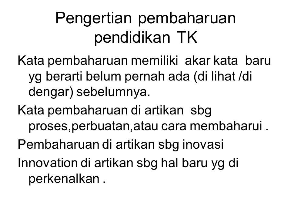 Dalam kamus bhs indonesia Istilah inovasi di artikan sbg pemasukan atau pengenalan hal-hal baru atau sbg penemuan baru yg berbeda dari yg sudah ada atau yg sudah di kenal sebelumnya gagasan,metode,atau alat.