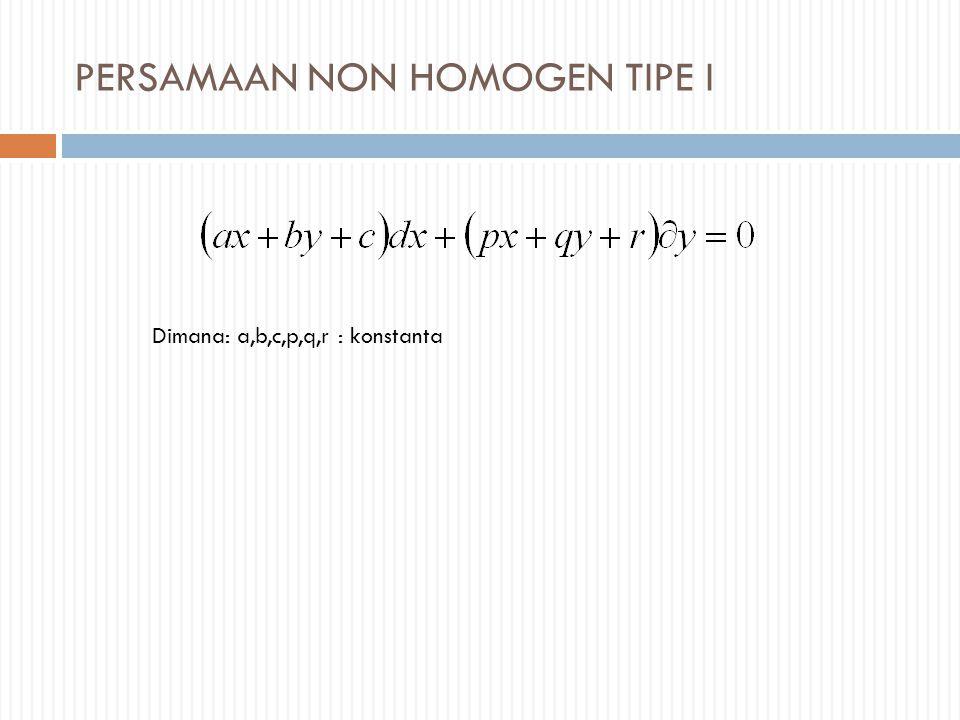 PERSAMAAN NON HOMOGEN TIPE I Dimana: a,b,c,p,q,r : konstanta