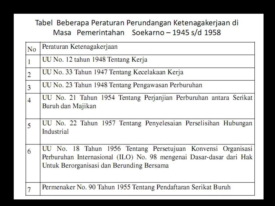 pada masa berikutnya (1959-1966) terjadi gerak politisi dan ekonomi buruh yang ditandai dengan dikeluarkannya Peraturan Penguasa Perang Tertinggi No.4 Tahun 1960 tentang Pencegahan Pemogokan dan/atau Penutupan (lock out) di Perusahaan, Jawatan dan Badan Vital.