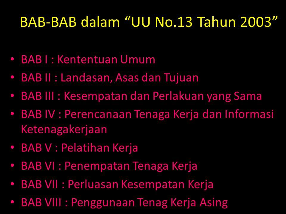 BAB-BAB dalam UU No.13 Tahun 2003 BAB I : Kententuan Umum BAB II : Landasan, Asas dan Tujuan BAB III : Kesempatan dan Perlakuan yang Sama BAB IV : Perencanaan Tenaga Kerja dan Informasi Ketenagakerjaan BAB V : Pelatihan Kerja BAB VI : Penempatan Tenaga Kerja BAB VII : Perluasan Kesempatan Kerja BAB VIII : Penggunaan Tenag Kerja Asing