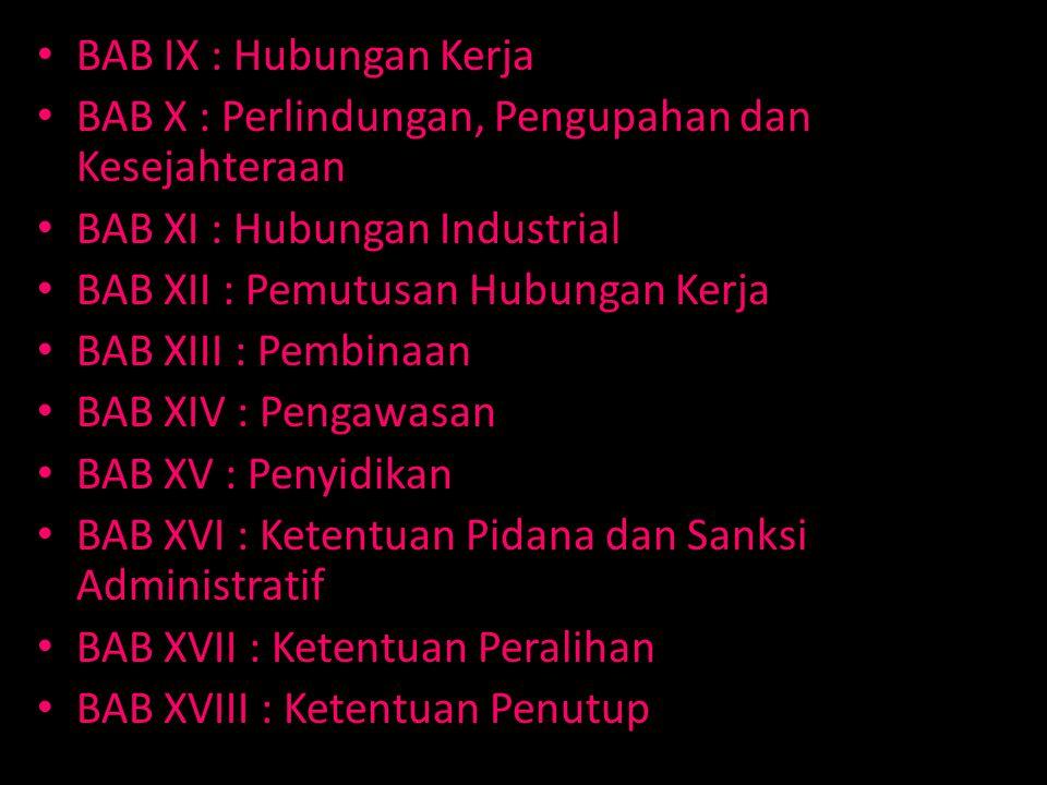 BAB IX : Hubungan Kerja BAB X : Perlindungan, Pengupahan dan Kesejahteraan BAB XI : Hubungan Industrial BAB XII : Pemutusan Hubungan Kerja BAB XIII : Pembinaan BAB XIV : Pengawasan BAB XV : Penyidikan BAB XVI : Ketentuan Pidana dan Sanksi Administratif BAB XVII : Ketentuan Peralihan BAB XVIII : Ketentuan Penutup