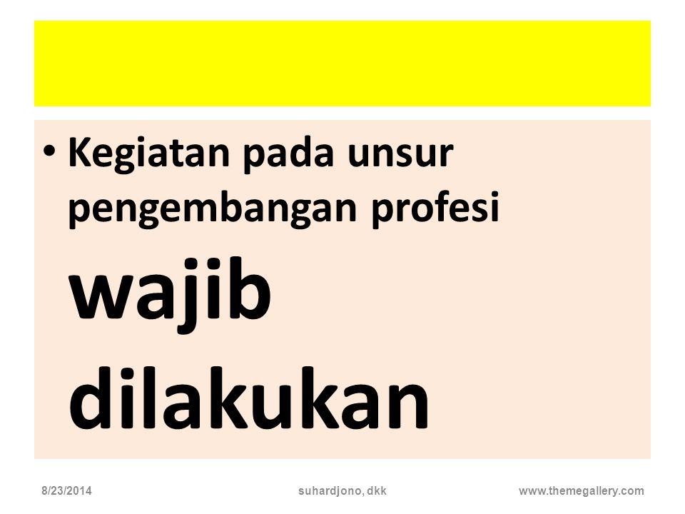 Angka kredit PLP didapat dari.... Pendidikan Pengelolaan laboratoriu m Pengemba ngan Profesi Penunjang 8/23/2014suhardjono, dkkwww.themegallery.com To