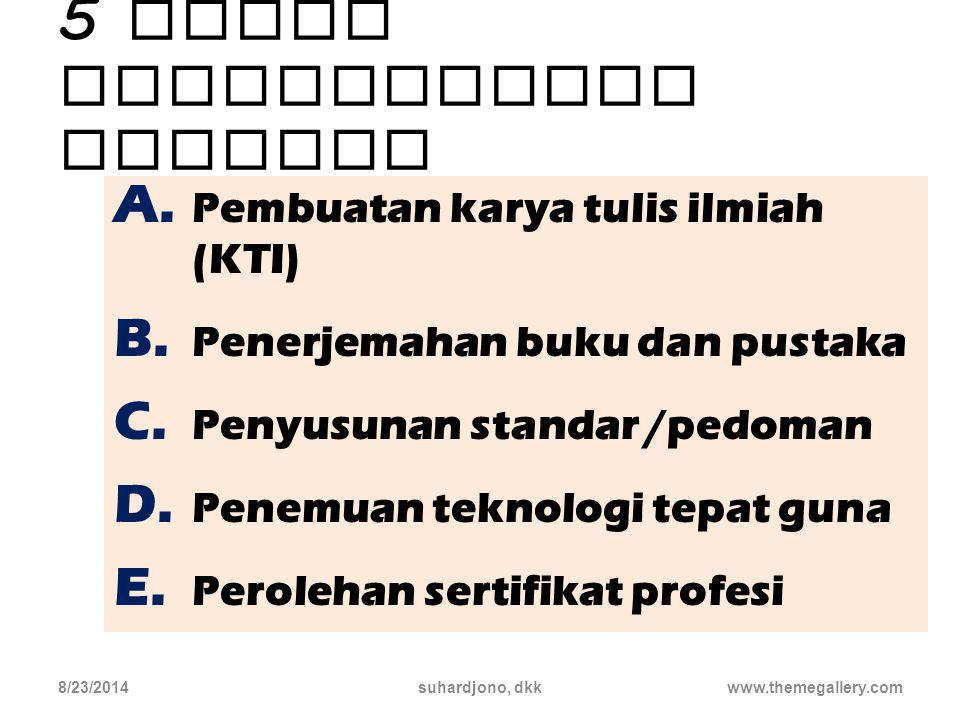 5 (lima) macam kegiatan Pengembangan Profesi 8/23/2014suhardjono, dkk16 Lihat RINGKASAN