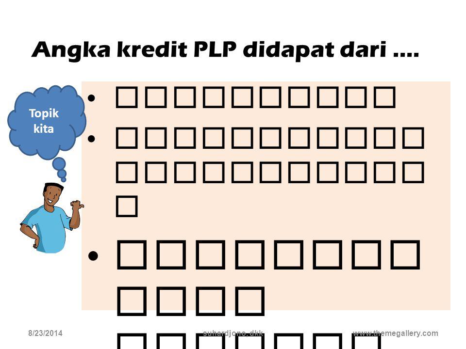 Angka Kredit kinerja PLP diukur dari jumlah angka kredit 8/23/2014suhardjono, dkk8