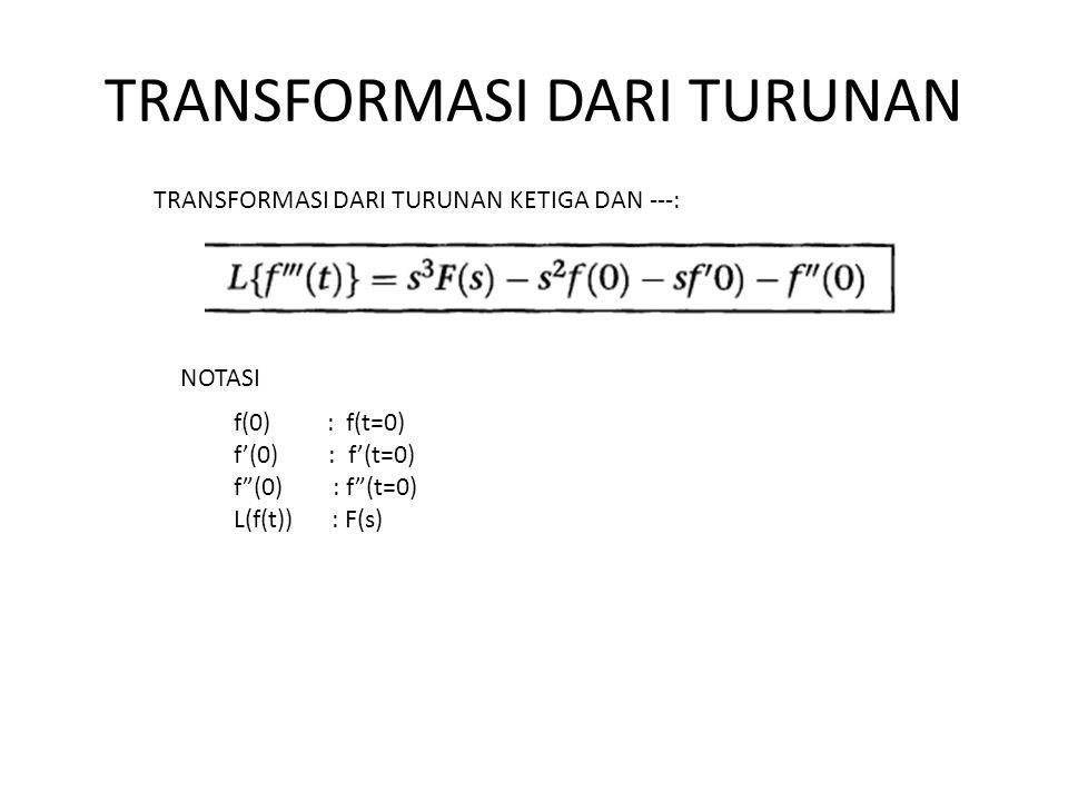 TRANSFORMASI DARI TURUNAN TRANSFORMASI DARI TURUNAN KETIGA DAN ---: NOTASI f(0) : f(t=0) f'(0) : f'(t=0) f (0) : f (t=0) L(f(t)) : F(s)