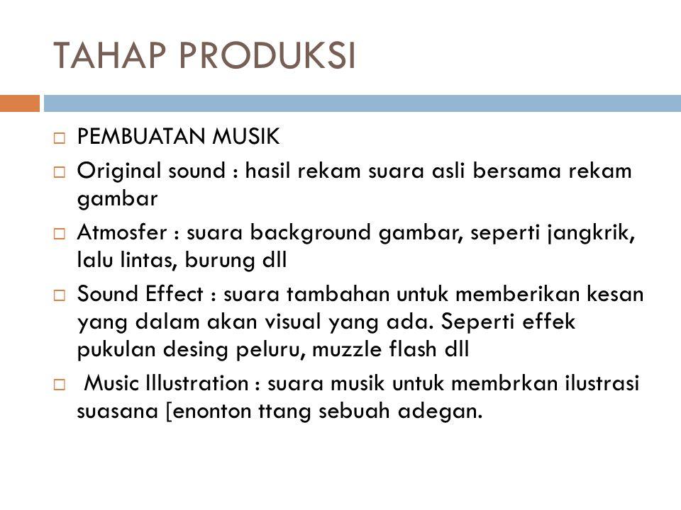 TAHAP PRODUKSI  PEMBUATAN MUSIK  Original sound : hasil rekam suara asli bersama rekam gambar  Atmosfer : suara background gambar, seperti jangkrik