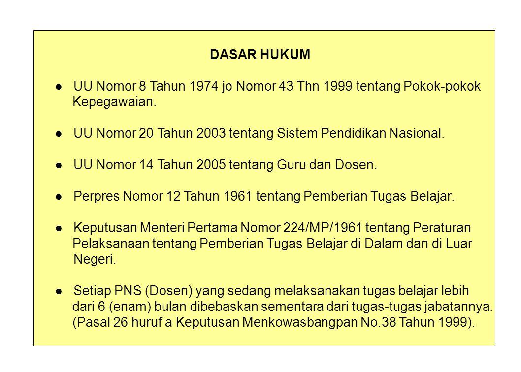 DASAR HUKUM ● UU Nomor 8 Tahun 1974 jo Nomor 43 Thn 1999 tentang Pokok-pokok Kepegawaian.