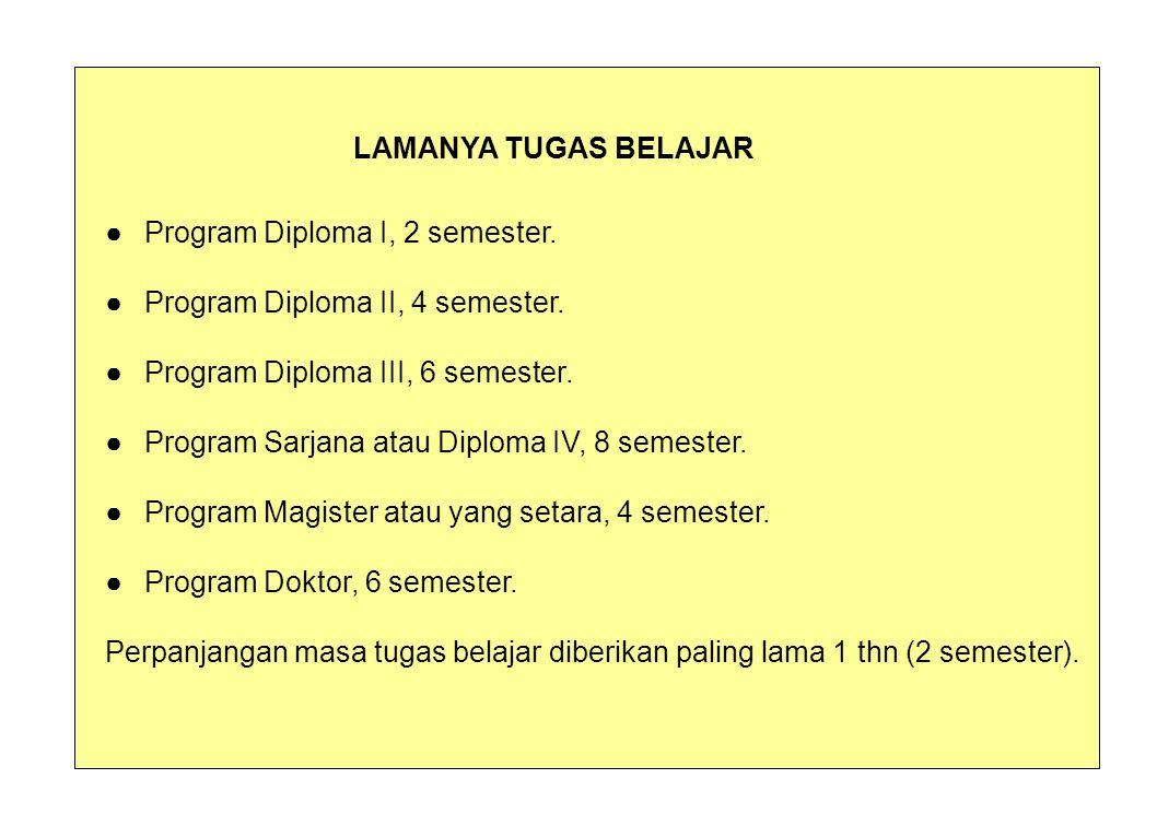 LAMANYA TUGAS BELAJAR ● Program Diploma I, 2 semester.