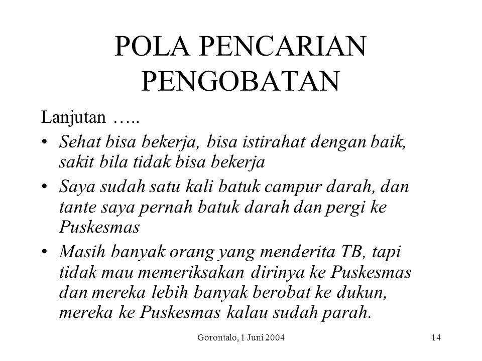 Gorontalo, 1 Juni 200414 POLA PENCARIAN PENGOBATAN Lanjutan ….. Sehat bisa bekerja, bisa istirahat dengan baik, sakit bila tidak bisa bekerja Saya sud