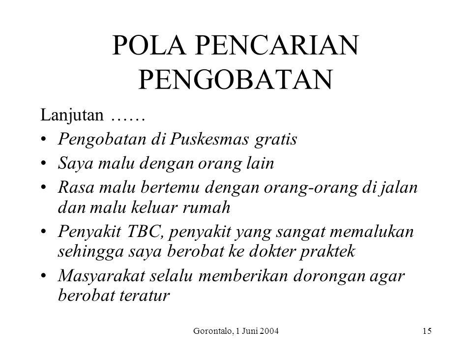 Gorontalo, 1 Juni 200415 POLA PENCARIAN PENGOBATAN Lanjutan …… Pengobatan di Puskesmas gratis Saya malu dengan orang lain Rasa malu bertemu dengan ora