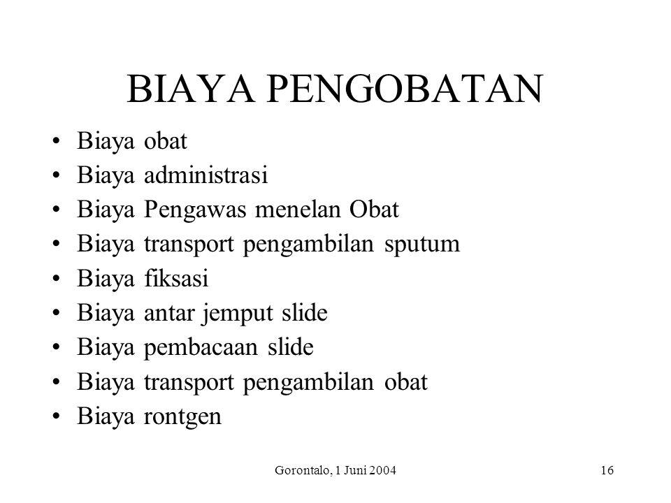 Gorontalo, 1 Juni 200416 BIAYA PENGOBATAN Biaya obat Biaya administrasi Biaya Pengawas menelan Obat Biaya transport pengambilan sputum Biaya fiksasi B