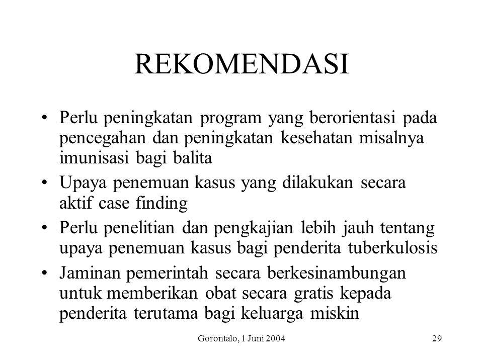 Gorontalo, 1 Juni 200429 REKOMENDASI Perlu peningkatan program yang berorientasi pada pencegahan dan peningkatan kesehatan misalnya imunisasi bagi bal