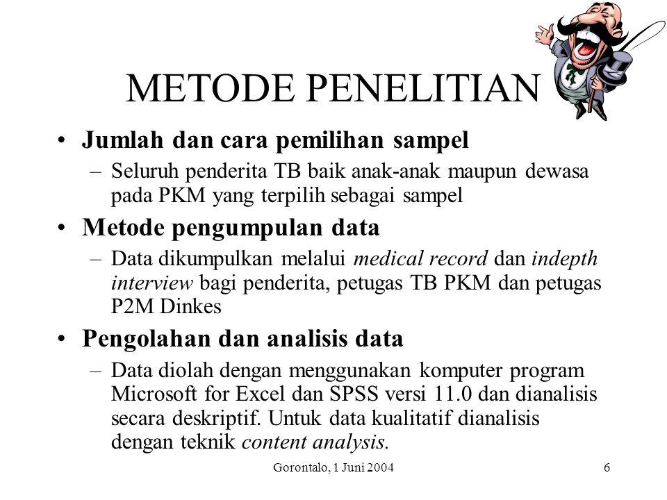 Gorontalo, 1 Juni 20046 METODE PENELITIAN Jumlah dan cara pemilihan sampel –Seluruh penderita TB baik anak-anak maupun dewasa pada PKM yang terpilih sebagai sampel Metode pengumpulan data –Data dikumpulkan melalui medical record dan indepth interview bagi penderita, petugas TB PKM dan petugas P2M Dinkes Pengolahan dan analisis data –Data diolah dengan menggunakan komputer program Microsoft for Excel dan SPSS versi 11.0 dan dianalisis secara deskriptif.