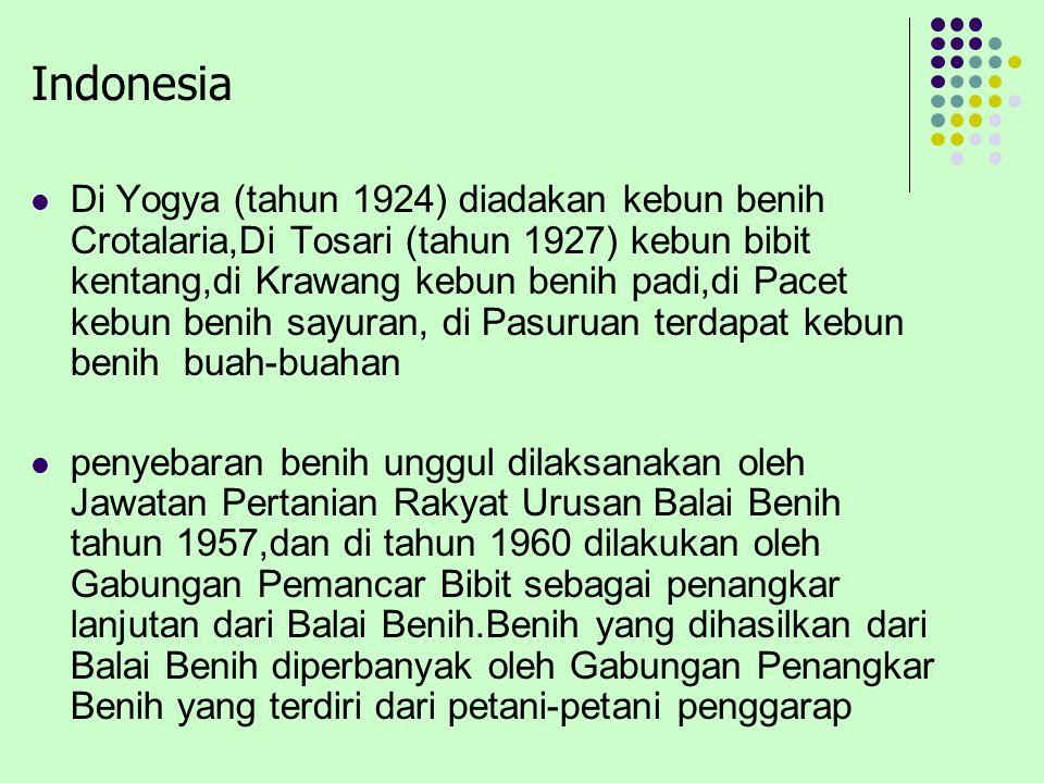 Indonesia Di Yogya (tahun 1924) diadakan kebun benih Crotalaria,Di Tosari (tahun 1927) kebun bibit kentang,di Krawang kebun benih padi,di Pacet kebun