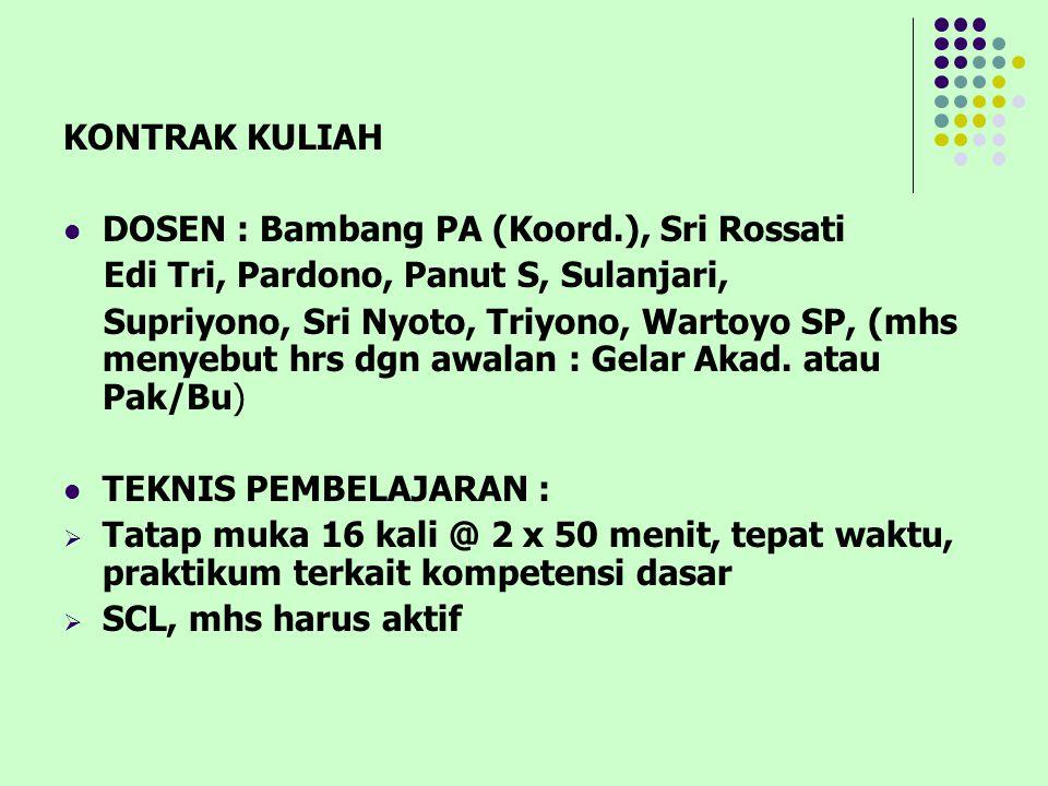 KONTRAK KULIAH DOSEN : Bambang PA (Koord.), Sri Rossati Edi Tri, Pardono, Panut S, Sulanjari, Supriyono, Sri Nyoto, Triyono, Wartoyo SP, (mhs menyebut