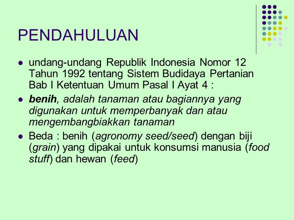 PENDAHULUAN undang-undang Republik Indonesia Nomor 12 Tahun 1992 tentang Sistem Budidaya Pertanian Bab I Ketentuan Umum Pasal I Ayat 4 : benih, adalah