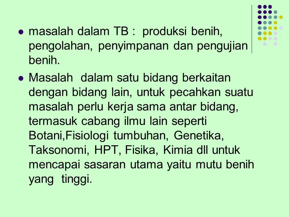 masalah dalam TB : produksi benih, pengolahan, penyimpanan dan pengujian benih. Masalah dalam satu bidang berkaitan dengan bidang lain, untuk pecahkan