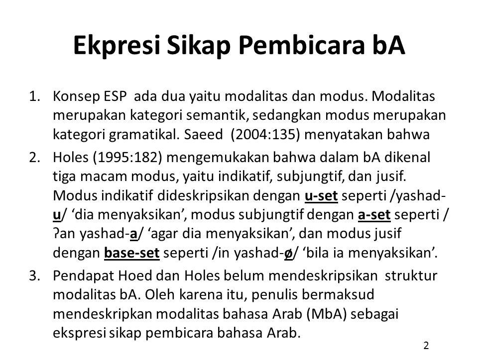 Ekpresi Sikap Pembicara bA 1.Konsep ESP ada dua yaitu modalitas dan modus. Modalitas merupakan kategori semantik, sedangkan modus merupakan kategori g