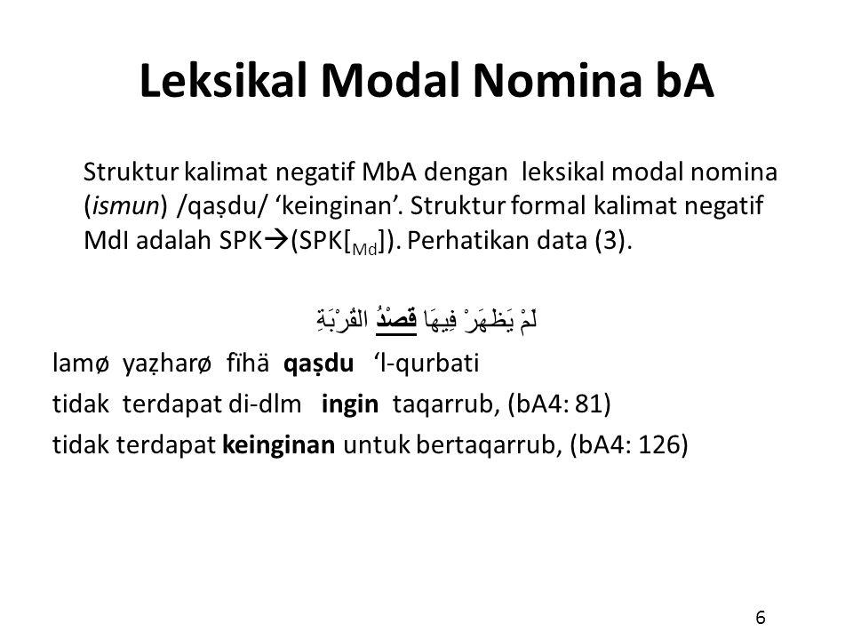 Leksikal Modal Nomina bA Struktur kalimat negatif MbA dengan leksikal modal nomina (ismun) /qaṣdu/ 'keinginan'. Struktur formal kalimat negatif MdI ad